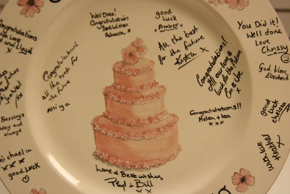 wedding cake painted onto a platter