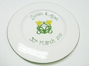hand painted daffodils on a plate