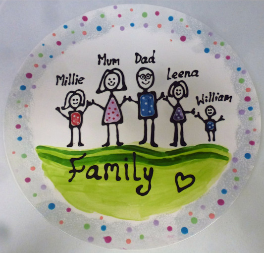 family painted onto pottery