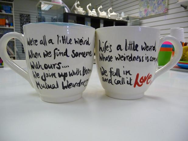 mr and mrs handpainted mugs
