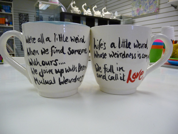 mr and mrs handpainted mugs