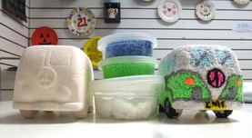 Pottery VW campervan with foam clay on