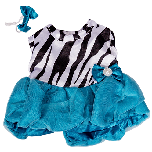 "Turquoise Zebra Dress With Bow (8"")"