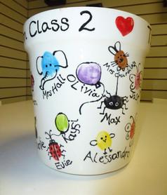 fingerprint animals and bugs on vase