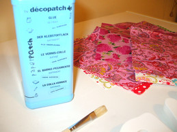 Pink decopatch papers and glue