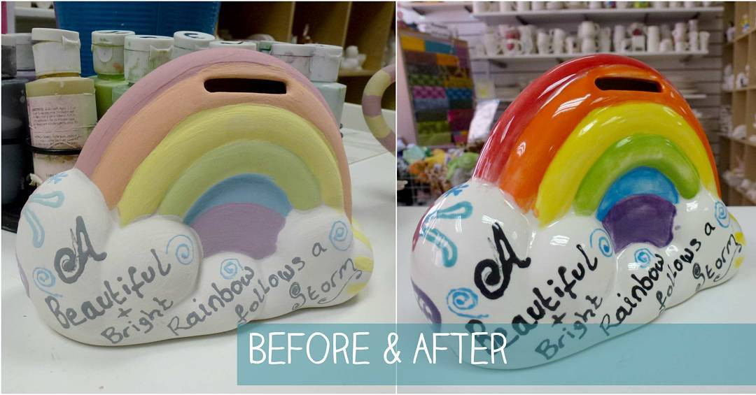 Rainbow money bank before and after firing