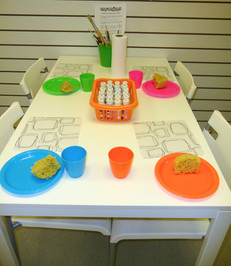 Table set up for pottery painting