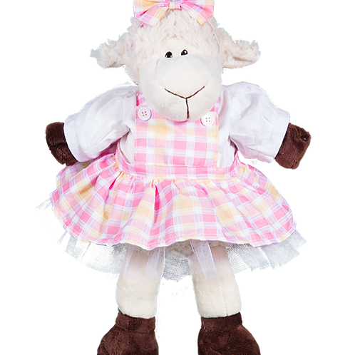 "Plaid Pinafore With Bow Headband (16"")"