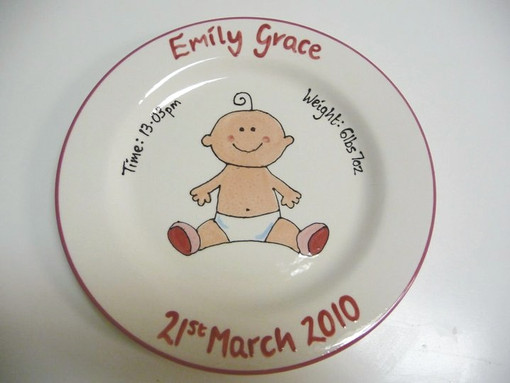 New baby personalised plate