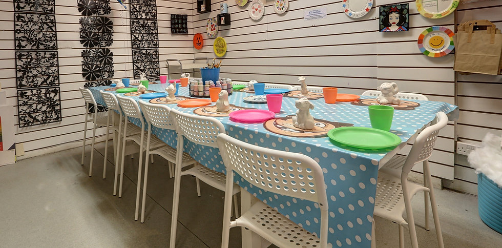 table set up for childrens pottery painting party