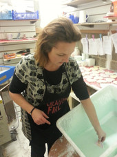 Chrissy glazing pottery