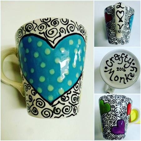 hand painted mug with hearts