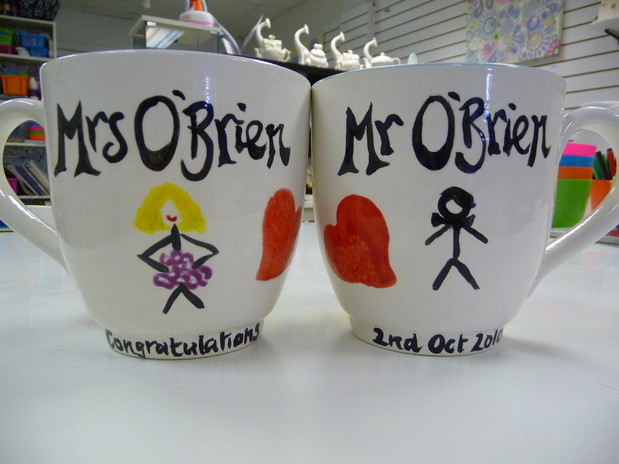 his and hers handpainted mugs