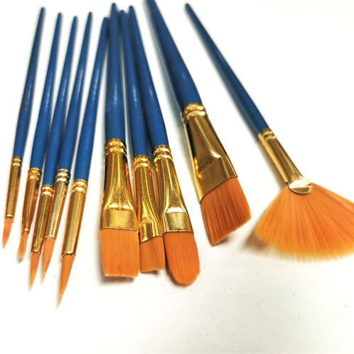 10 Piece Value Assorted Paint Brush Set