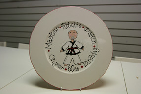 60th birthday plate hand painted