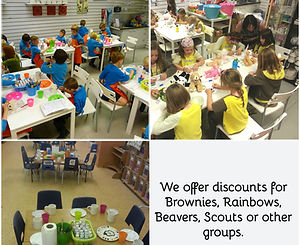 groups of brownies and cubs pottery painting at Crafty Monkey Studio