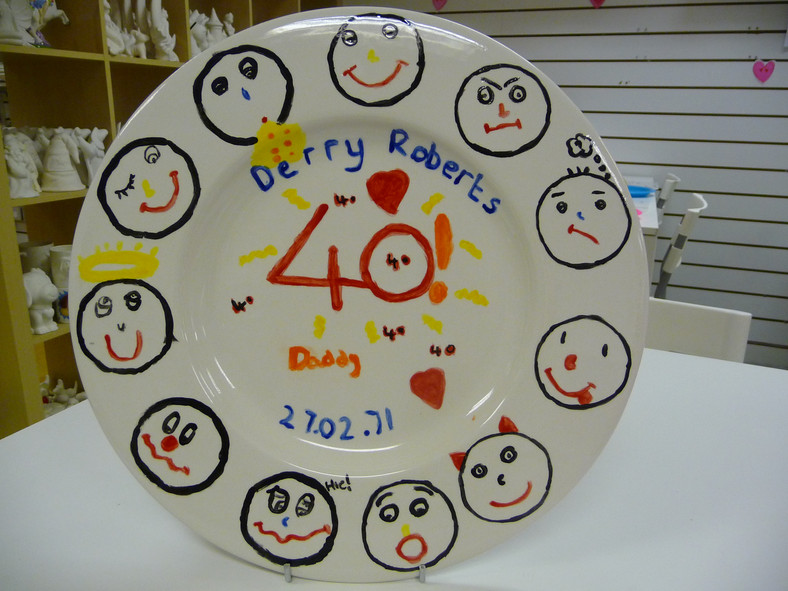 40th plate painted by child for mum