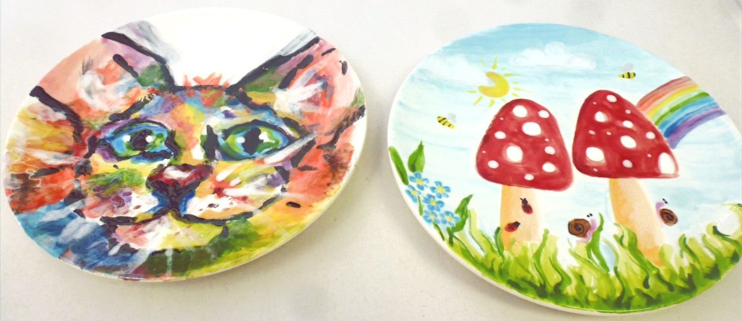Beautifully painted multicolour cat face and toadstalls with a rainbow on plates