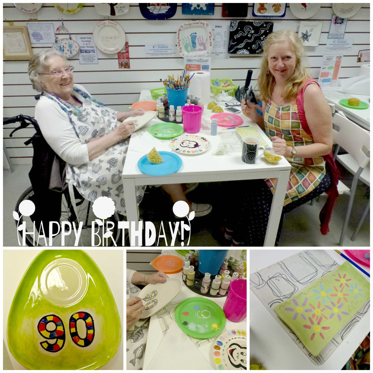 90th birthday pottery painting outing