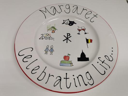 90th birthday handpainted plate