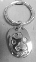 paw print silver keyring