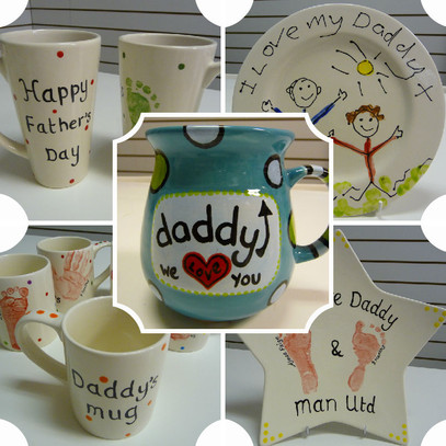 Assortment of painted pottery for dad