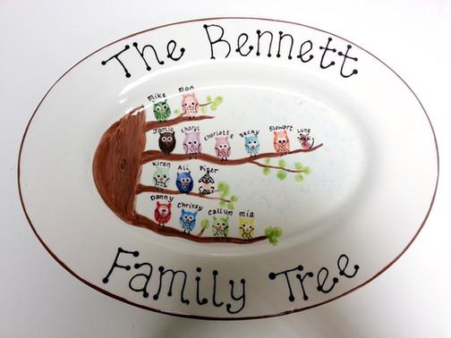 Hand painted personalised fingerprint family tree plate