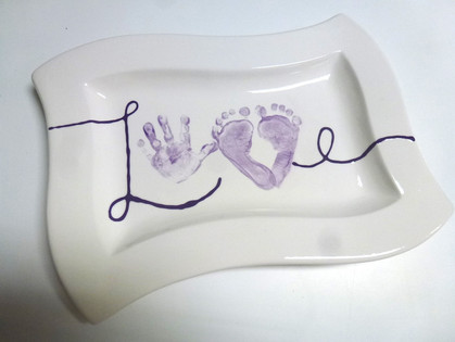 love with hand and footprints