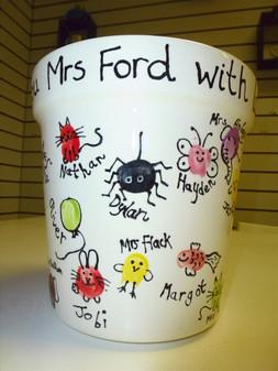 fingerprint vase for teacher gift