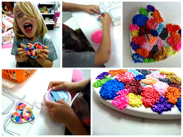 Collage of boy doing foam clay on heart