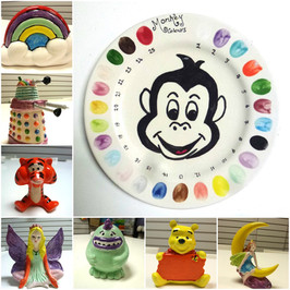 Crafty Monkey colour plate with an assortment of figurines