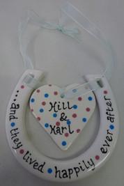 pottery horseshoe and heart
