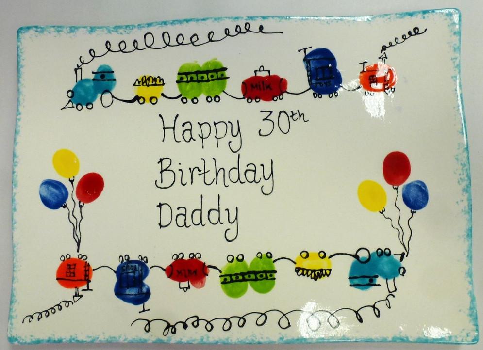 30th birthday plate with fingerprint train