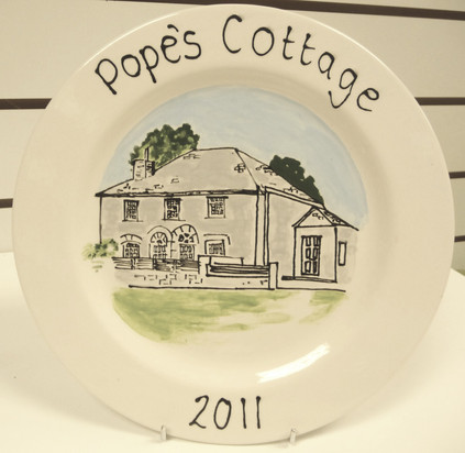 hand painted picture of house on plate