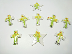 daffodils painted on cross and stars