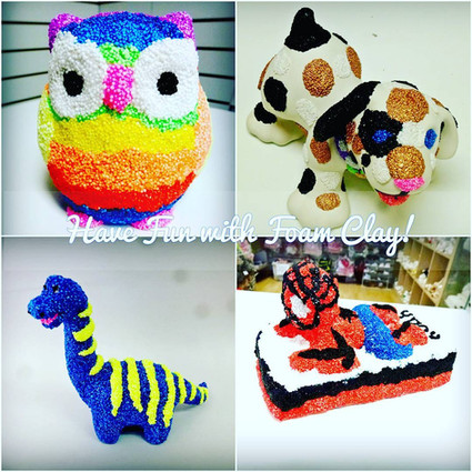 Collage of foam clay items