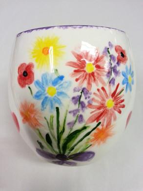 handpainted flowers on vase