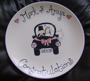 hand painted personalised wedding plate