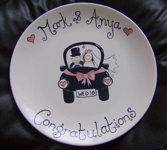 hand painted personalised wedding plate