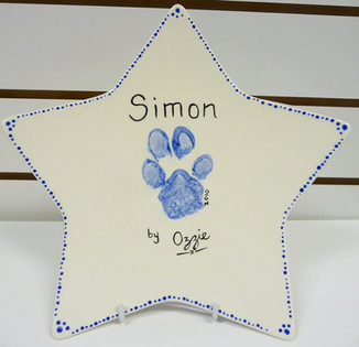 paw print on star plate