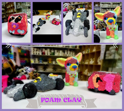 Selection of items that have been foam clayed