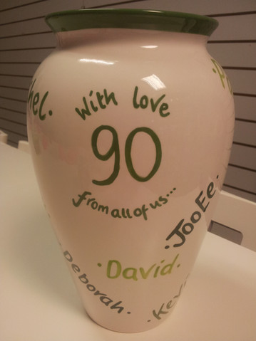 90th birthday vase with names of family on