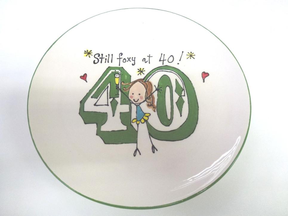 40th birthday gift handpainted plate
