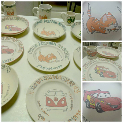 Hand painted commmision plates