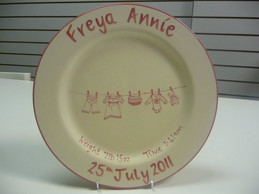 Hand painted plate for a new baby.jpg