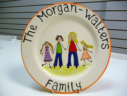 family painted on pottery