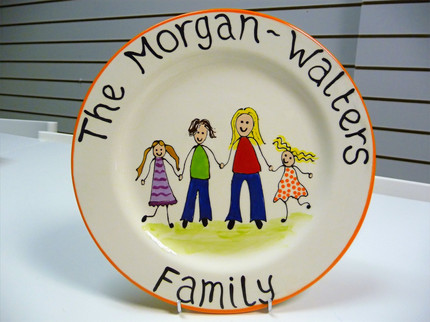 family hand painted onto a plate