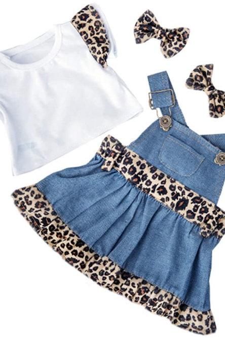 """Denim Cheetah Dress (16"""")"""