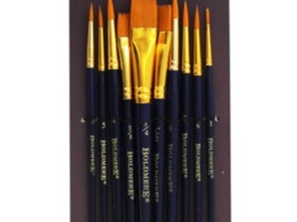 10 Piece Set of Round and Flat Paint Brushes