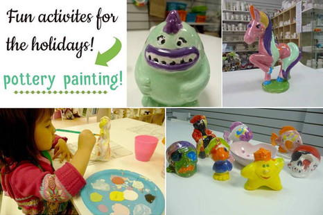 Little girl painting pottery and examples of figurines painted